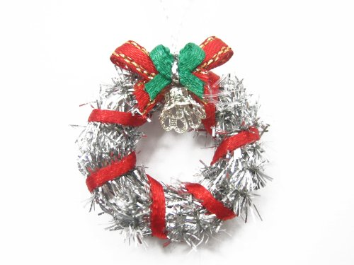 Decoration Christmas Doll (Dollhouse Miniature Christmas Decoration Silver Wreath Holly Supply Deco Charms - 7211)