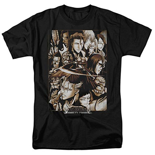 Popfunk Bleach Anime Characters T Shirt & Exclusive Stickers (Small) Black -