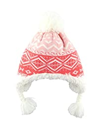 Baby Girls Soft Hat Toddler Child Kid Warm Knitted Acrylic Thick Cap Crochet Pink Beanie Earflap for Christmas 6-12 Months