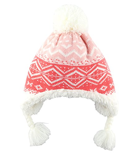 Baby Kids Warm Knit Beanie Hat Toddler Winter Snow Ski Earflap Soft Flannel Hat Earmuff Cap Pink 3-6 T