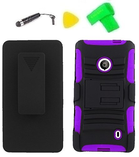 Belt Clip Holster Heavy Duty Hybrid Phone Cover Case Cell Phone Accessory + Extreme Band + Stylus Pen + Yellow Pry Tool for T-Mobile Pre-Paid Nokia Lumia 521 4G Smartphone (Belt Clip Holster Black/Purple)