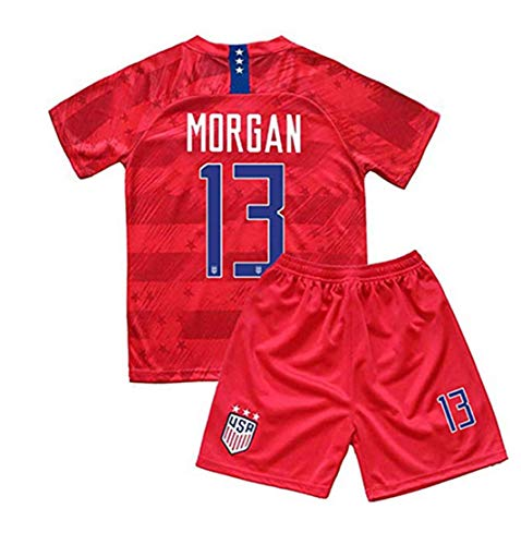 New 2019-2020 Alex Morgan #13 USA National Team Away Soccer Jersey Shorts for Kids/Youths Size 26 11-12 Years Old Red