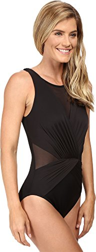 Miraclesuit Women's Illusionists Palma One Piece High Neck Swimsuit Black 14