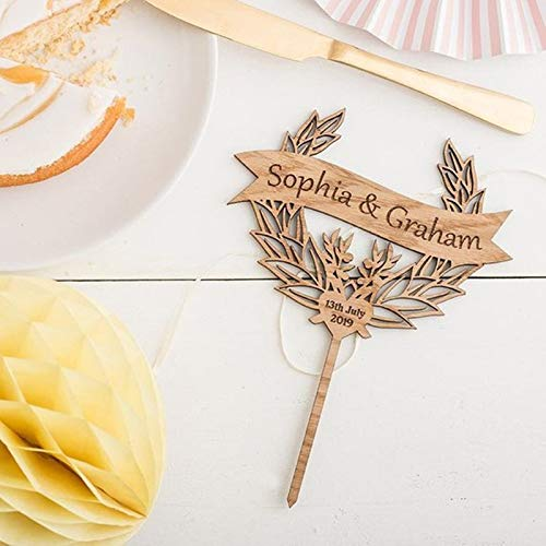 (Banner And Wreath Cake Topper Personalised Wooden Cake Topper with date and names Wedding cake topper Anniversary)