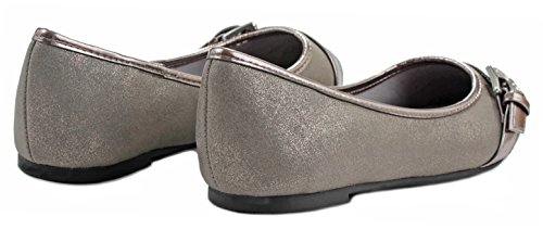 Broil Buckle Strap Comfy Memory Foam Cushioned Loafer Ballet Dress Flats Pewter PU EsQyNKP