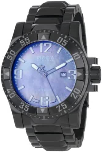 Invicta Men's 0516 Reserve Collection Grey Mother-Of-Pearl Black Ion-Plated Stainless Steel Watch