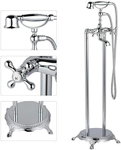 シャワーミキサー、フロアマウント自立型バスタブシャワーシステムハンドシャワー浴槽フィラーバスルームシャワー蛇口