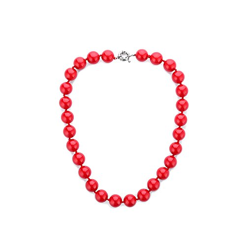 (LUREME Handmade Strand Red Stone Simulated Pearl Beads Cluster Necklace for Women (Style F))