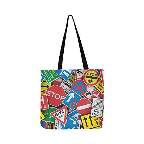 Chaotic Collection Traffic Signs United Kingdom Canvas Tote Handbag Shoulder Bag Crossbody Bags Purses For Men And Women Shopping Tote (Best Of British Roundabouts)