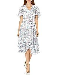 Women's Short Sleeve V-Neck Smocked Tea Length Dress
