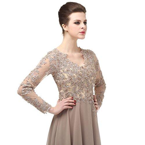 menoqo Elegant Long Sleeve A Line V Neck Chiffon Lace Beaded Long Evening Dresses 2018 Robe De Soiree manche Longue