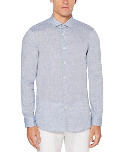 Perry Ellis Men's Slim Fit Long Sleeve Solid Linen Shirt, Colony Blue, Large