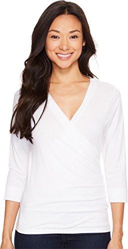 Lilla P Women's Pima Jersey 3/4 Sleeve Surplice Top White Shirt