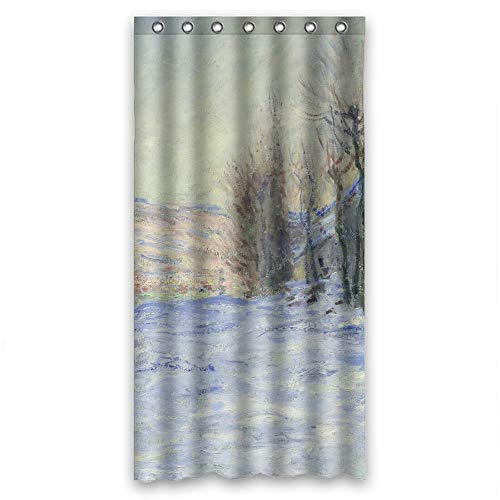 (Blnoui ( Shower Curtains of Art Painting Claude Monet - Lavacourt Under Snow (1881) Polyester Best Fit for Boys Family Couples Girls Gf. R)