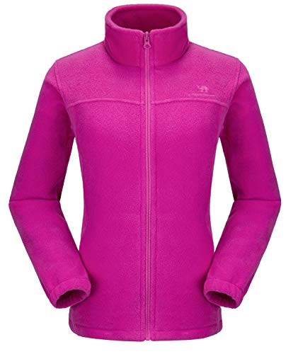 Full Tall Fleece Zip (CAMEL CROWN Women Full Zip Fleece Jackets with Pockets Soft Polar Fleece Coat Jacket Sweater for Spring Outdoor Rose Red XXL)