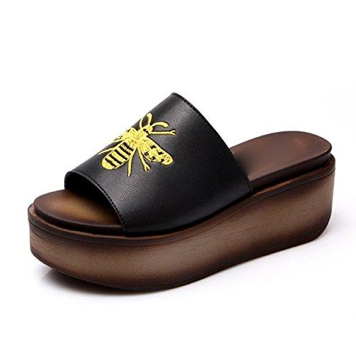 soltar la calzado el arrastrar 39 y zapatillas antideslizante Moda pendientes Sandals Transpirable y terraza grueso salvaje AJUNR Negro 39 Sandalias de playa elegante 7cm con Pxq8wwZv