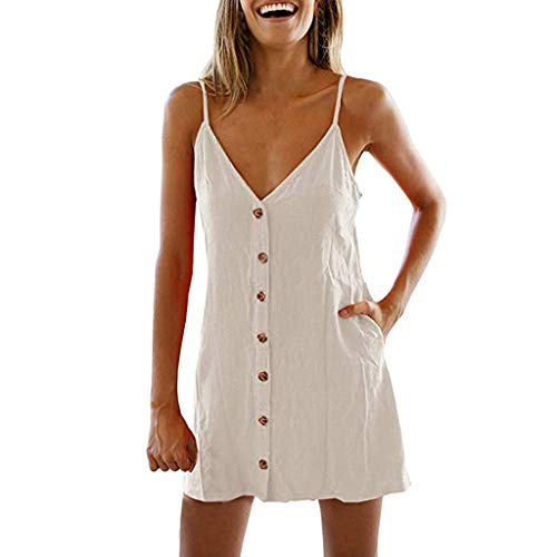 Toponly Women's Casual Beach Summer Dresses Solid Flattering A-Line Spaghetti Strap Button Down Midi Sundress