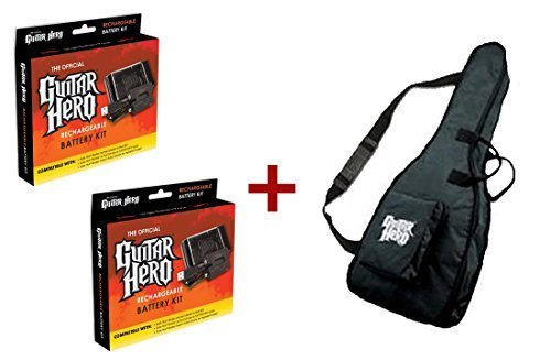 Battery Hero Guitar Rechargeable - Guitar Hero Dual Gig Bag Plus 2 Rechargeable Battery Kits Bundle [PlayStation2]