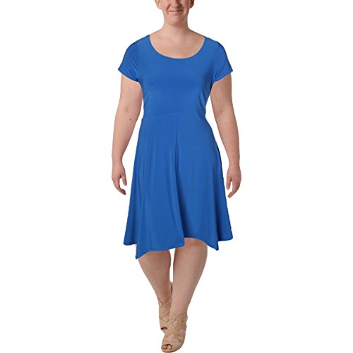 Lauren Ralph Lauren Womens Plus Matte Jersey Asymmetric Casual Dress Blue 1X by Lauren by Ralph Lauren