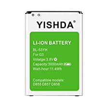 YISHDA LG G3 Battery | 3000mAh Replacement Li-ion Battery for LG G3, D852, D855, D851 T-Mobile, D850 AT&T, VS985 Version, LS990 Sprint ?Green [18 Month Warranty]