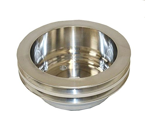 For SB Chevy Aluminum Crankshaft Pulley 2 Groove LWP Long Water Pump SBC 350 Crank (Chevy Pulley Aluminum)