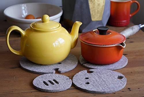 (Felt Potholder: Trivet Hot Pad Heat Resistant Table Mat, Coaster & Countertop Protector for Hot Dishes - Set of 4)