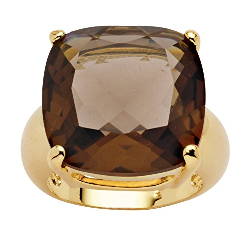 Palm Beach Jewelry Cushion-Cut Genuine Smoky Quartz 14k Yellow Gold-Plated Faceted Ring Size 9