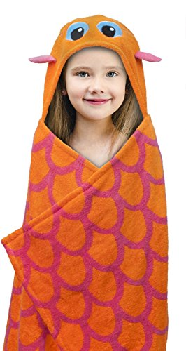 """Best Brands Deluxe Hooded Towels for Kids, 100% Cotton Terry, Oversized 27"""" x 47"""", Perfect for the Bath, Pool, the Beach- (Tiger Terry Bath Towel)"""