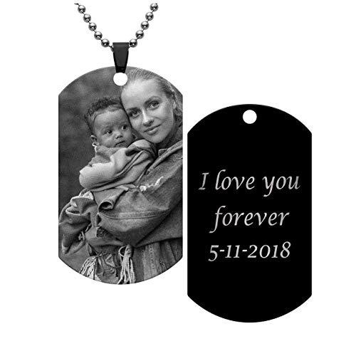 (Jovivi Free Engraving - Personalized Engraved Message Photo Text Dog Tag Pendant Custom Your Picture Necklace, Valentine's Mother's)