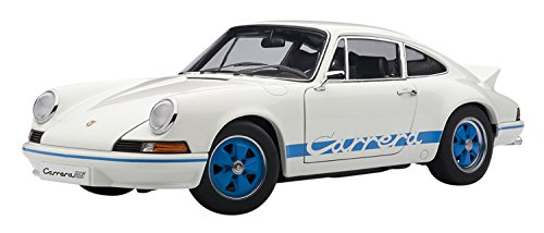 PORSCHE 911 CARRERA RS 2.7 1973 WHITE WITH BLUE STRIPES Diecast Model Car in 1:18 Scale by AUTOart