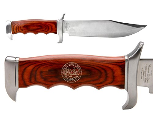 NDZ Performance Elk Ridge Outdoor Hunting Fixed Blade Full Tang Bowie Knife West Virginia State Seal