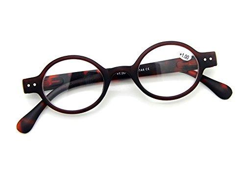 Designer Small round Oval Vintage Spring Hinge Reading Glasses Eyeglasses Readers (+4.00, Brown frame with leopard - Round Small Eyeglasses