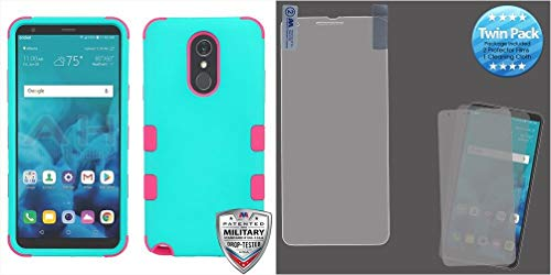 Combo pack Rubberized Teal Green/Electric Pink TUFF Hybrid Phone Protector Cover [Military-Grade Certified](with Package) for LG Stylo 4 LG Stylo 4 Plus And Screen Protector Twin Pack for LG Stylo 4 L