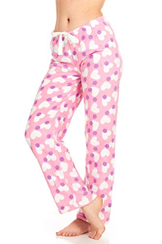 Women's Super-Soft Plush Fleece Pajama Bottoms/Lounge Pants, Pink Purple Hearts - Medium ()