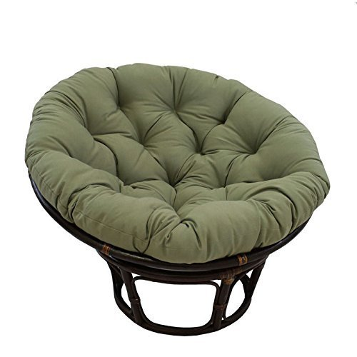 International Caravan 3312-TW-SG-IC Furniture Piece 42-inch Rattan Papasan Chair with Solid Twill Cushion by International Caravan