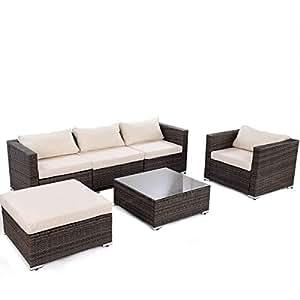 Tangkula - Juego de 6 piezas de muebles de ratán para patio y jardín, moderno, ratán, ratán, color gris