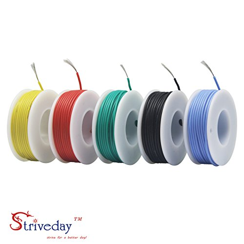 Striveday™ 30 AWG Flexible Silicone Wire Electric wire 30 gauge Coper Hook Up Wire 300V Cables electronic stranded wire cable electrics DIY BOX-1 by striveday (Image #3)