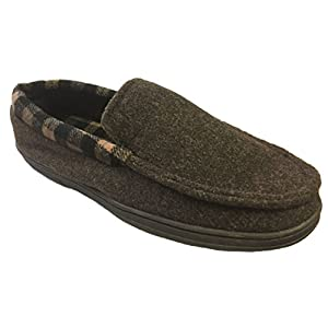 Dearfoams Men's Plaid Lining and Memory Foam Felted Moccasin Slippers