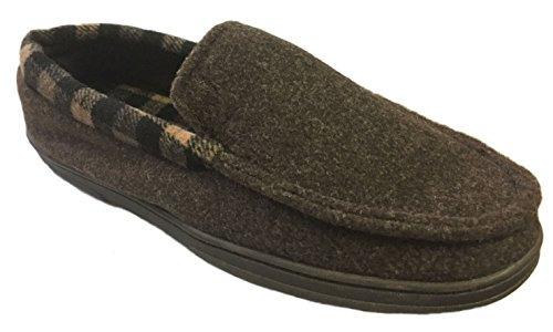 Dearfoams Men's Plaid Lining and Memory Foam Felted Clog Slippers (Large/11-12 D(M) US, Coffee) (Slippers Washable Mens)
