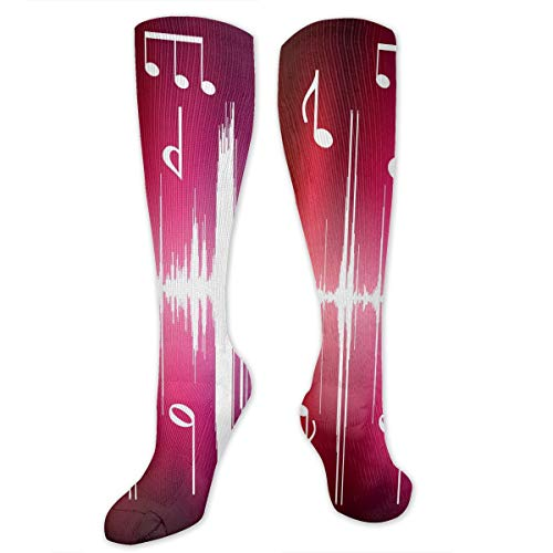 Compression Socks Colored Music Notes Soccer Sports Knee High Tube Socks For Women And Men (Note Outline Music)
