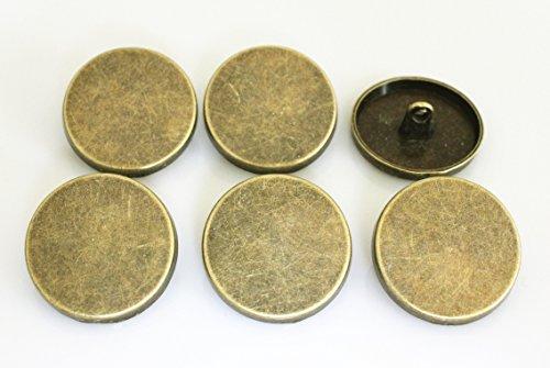Metal Coat Buttons - YCEE 6 Pieces Bronze Metal Coat Big Buttons Set (25mm, 1 inch) - Flat Surface, For Overcoat, Winter Coat, Uniform, Jacket, Blazer