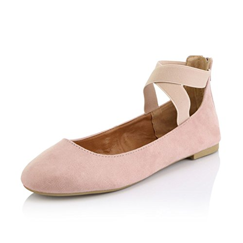 DailyShoes Women's Classic Flats Comfortable Criss Cross Elastic Band Round Flat Slip-On Loafer Sneaker Shoes-Ideal for Casual Occasions Walker-05 Mauve SV8