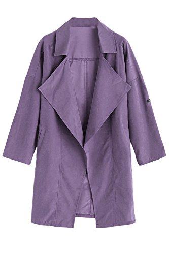 Esposado Purple La Solapa Cuello Outwear Oversize Trenchcoat Túnica Casual Mujer XxwcTqxzfP