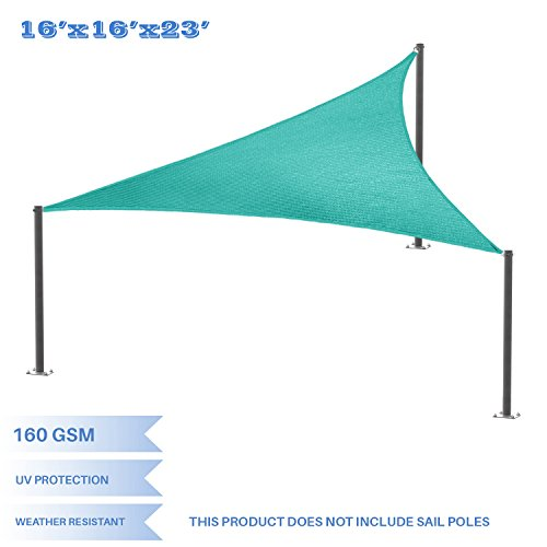 E&K Sunrise 16' x 16' x 22.6' Sun Shade Sail -Turquoise Green Right triangle UV Block Durable Awning Perfect for Canopy Outdoor Garden Backyard-Customized Sizes Available by E&K Sunrise