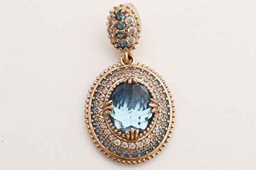 Turkish Handmade Jewelry Oval Shape London Blue and Round Cut Topaz 925 Sterling Silver Pendant