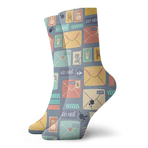 Postal Stationery Unisex Funny Art 3D Print Casual Crew Socks Athletic Crew Socks