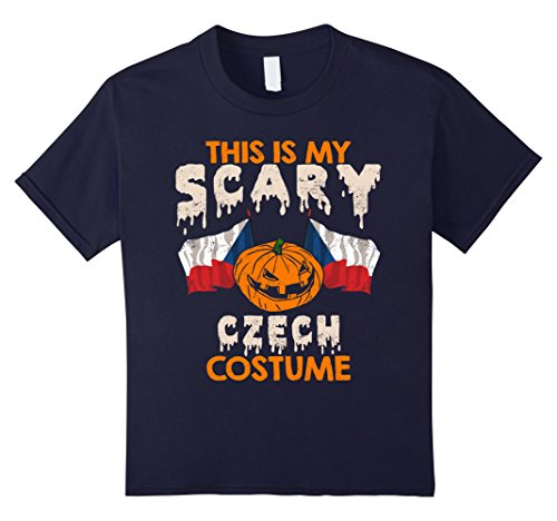 Czech Republic Costume (Kids This Is My Scary Czech Costume Halloween T-shirts 12 Navy)