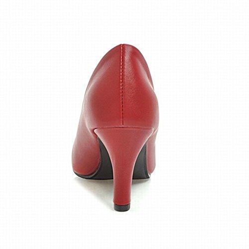 Pied De Charme Femmes Bout Pointu Mi-talon Travail Élégant Pompes Chaussures Vin Rouge