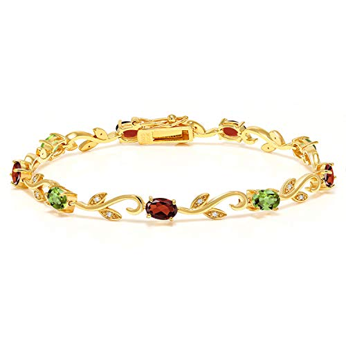 (Gem Stone King Build Your Own - Personalized 9 Birthstones Diamond Bracelet 925 Yellow Plated Sterling Silver Greek Vine Bracelet)