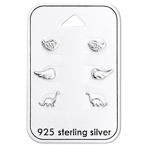 925 Sterling Silver (SET OF 3) Assorted Dinosaur, Bird, Wing Stud Earrings ()